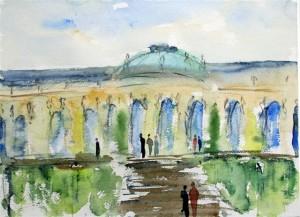 Schloß Sanssouci  (Aquarell ca. 60x40cm)